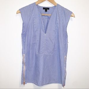 J. Crew Sleeveless Side Zip Striped Shirt-0 NWOT